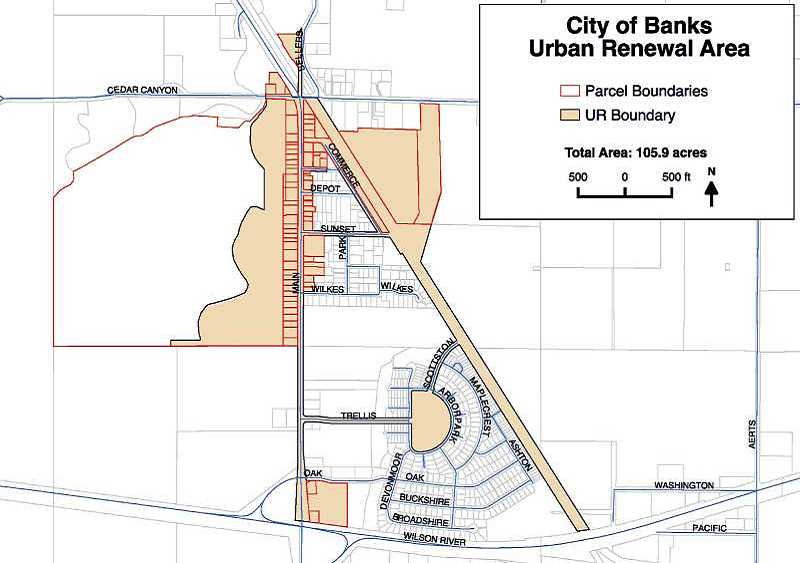 This map shows what parts of the city will be within the Urban Renewal Plan.