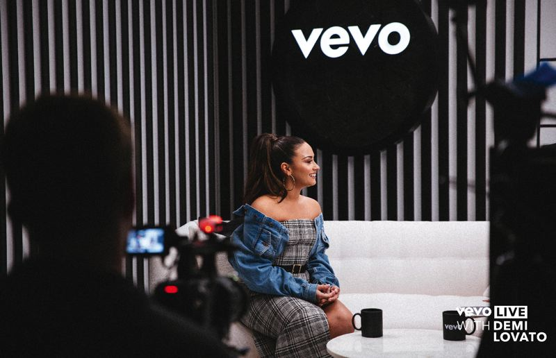 COURTESY: VEVO; PAMPLIN MEDIA GROUP: JOSEPH GALLIVAN - Sorry Not Sorry pop singer Demi Lovato doing a Vevo Live, which taxed the company's engineers in Portland as they accommodated traffic and live social media responses. The music video streamer Vevo is building its own channels, apps and brand.
