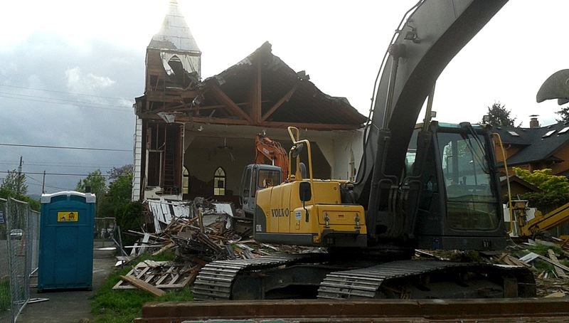 COURTESY PHOTO: PORTLAND CHRONICLE - Demolition reduced a 1904 church in Northeast Portland to rubble. The church has been replaced by a duplex.
