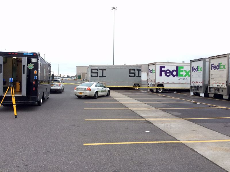 COURTESY: MCSO - A photo released by the Multnomah County Sheriff's Office shows the site of a workplace incident at a FedEx facility in Troutdale.