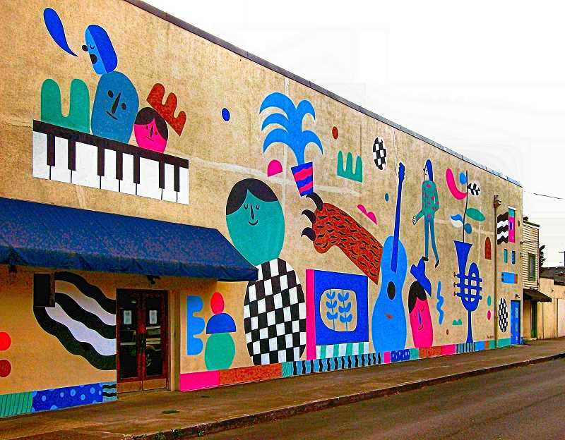RITA A. LEONARD   - In August, Ryan Bubnis designed this 27 x 100 foot mural on the west side of the Classic Pianos building, at Powell Boulevard and S.E. Milwaukie Avenue in Brooklyn.