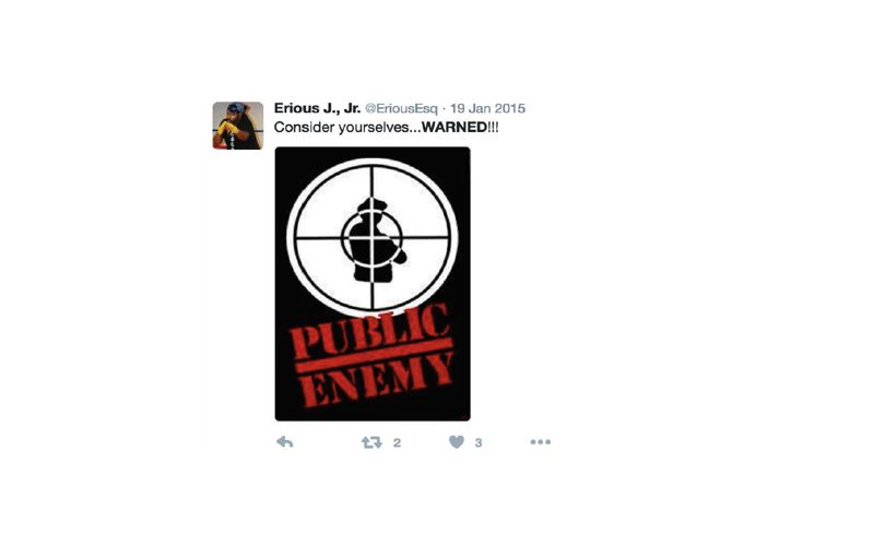U.S. DISTRICT COURT - A copy of Erious Johnson Jr.'s tweet from Jan. 19, 2015 of a logo and song lyrics from hip-hop group Public Enemy.