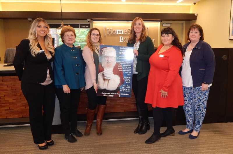BARBARA SHERMAN - Participants in the 2017 giving tree program for Washington County foster children include (from left) Haley Richardson of HomeStreet Bank, organizer Kathy Peper, Maiya Martin Burbank of King City Senior Village, Cari Lindsey of the Summerfield Civic Association, Lana Buckles of Bonaventure of Tigard, and Julie Chappelle of the King City Civic Association.