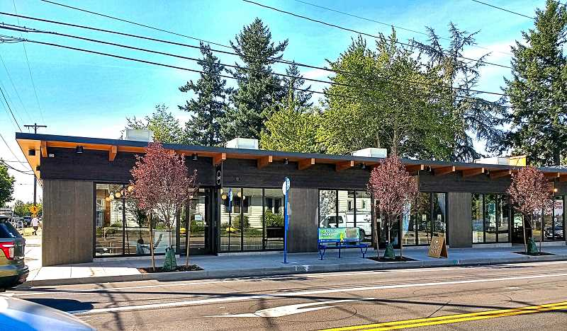 BECKY LUENING - The modern new building which replaced a closed auto repair shop on the northwest corner of S.E. 52nd Avenue and Woodstock Boulevard is now fully inhabited, with three businesses operational as of early September. Love Hive Yoga Studio is the business in the middle.
