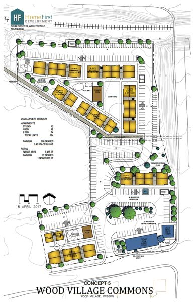 COURTESY GRAPHIC - A site plan shows the potential layout of a new development in Wood Village. A fire lane would weave through GroveTec's campus to the west and connect with the northern portion of the development.
