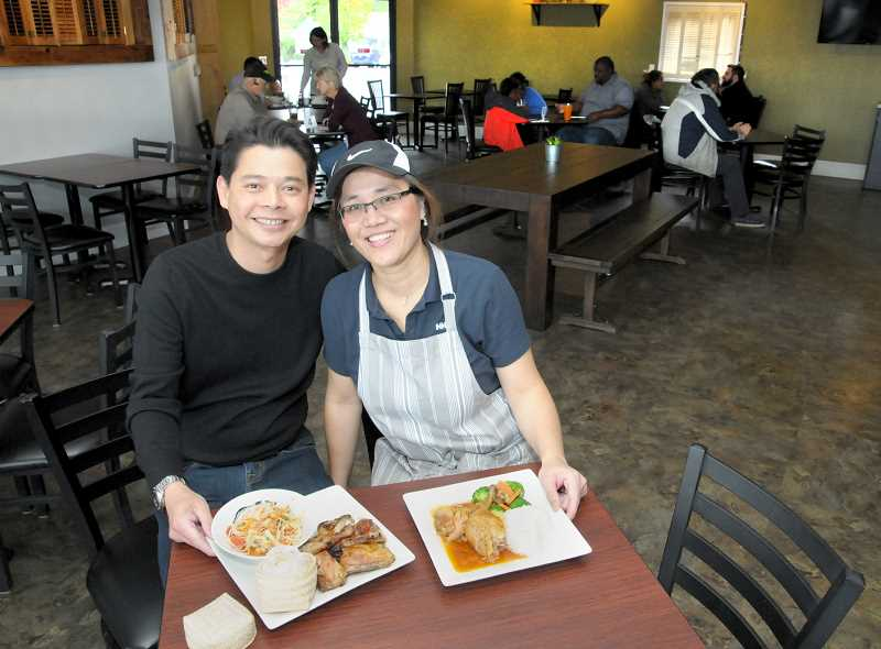 GARY ALLEN - Evan Kramakum and his wife Wanvadee Jermsak are owners of Thai the Knot Asian Kitchen, which opened Thursday in Newberg. The natives of Bangkock, Thailand, feature classic Thai dishes as well as family favorites on the menu.