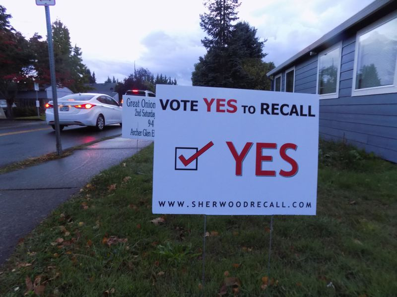 GAZETTE PHOTO: RAY PITZ - A sign advocates 'yes' on the recall of Sherwood City Councilors Jennifer Harris and Sally Robinson.