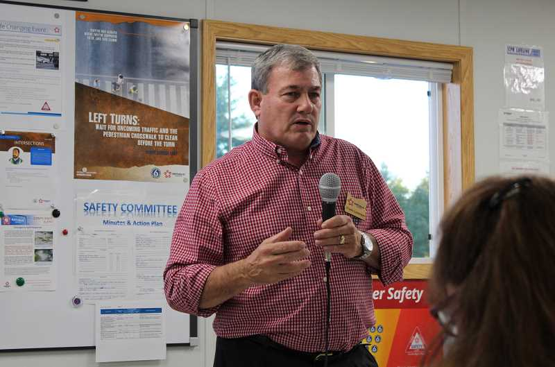 SPOKESMAN PHOTO: CLAIRE GREEN - Frank Lonergan, operations manager for Republic Services Wilsonville, welcomed meeting attendees Oct. 5.