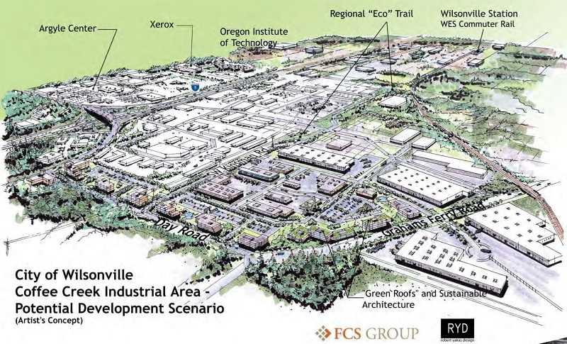 SUBMITTED PHOTO - The initial artist renderings of the Coffee Creek Industrial Area paint the area as a mix of green spaces and buildings.