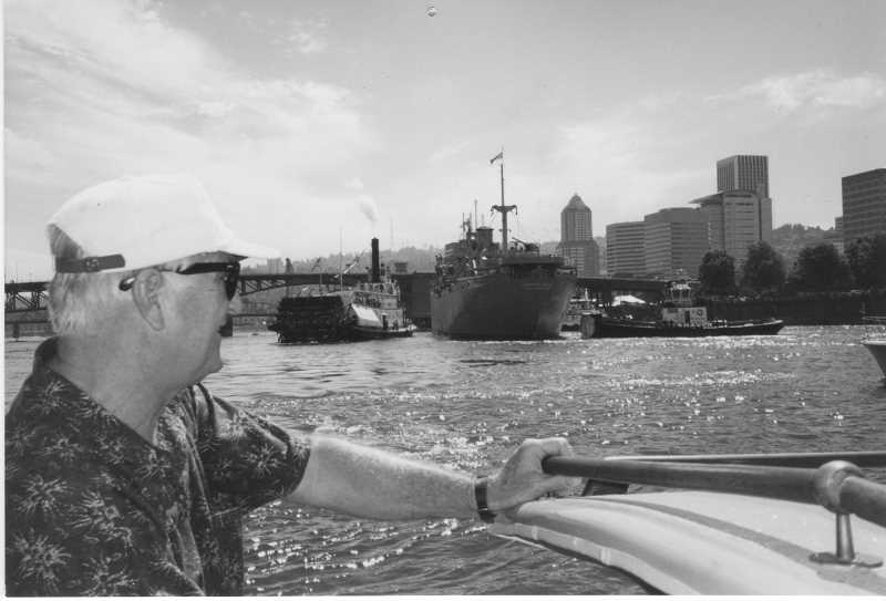 SUBMITTED PHOTO: DEDE MONTGOMERY - At the heart of Montgomery's book is her relationship with her late father, seen here looking out at the Willamette River.