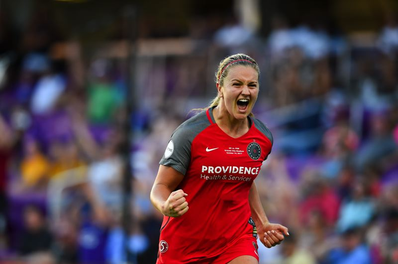 COURTESY: BRAD SMITH/ISIPHOTOS.COM - Lindsey Horan of the Portland Thorns celebrates after scoring in the NWSL championship game, won Saturday 1-0 over the North Carolina Courage in Orlando, Fla.