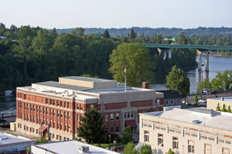 COURTESY OREGON JUDICIAL DEPARTMENT - The current Clackamas County Courthouse, which dates to 1937 and is likely to collapse into the Willamette River during a severe earthquake. The county has secured a $1.25 million state grant for planning of a new courthouse on its Red Soils campus elsewhere in Oregon City.