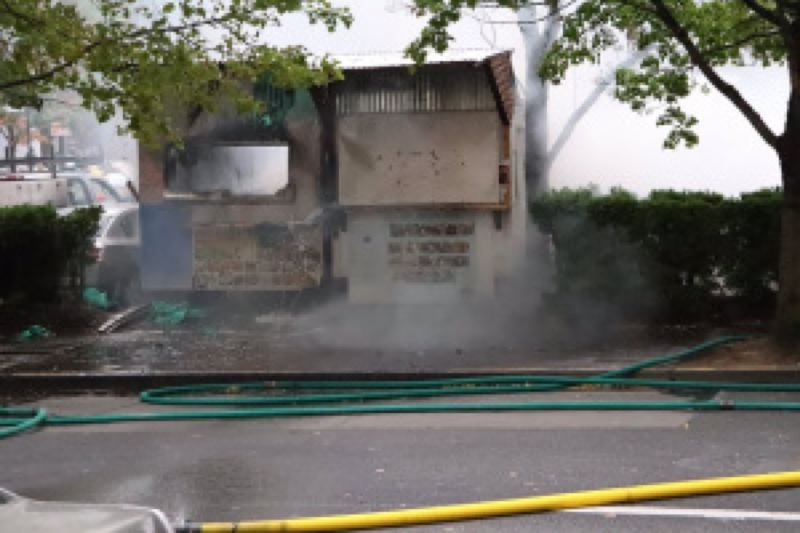 KOIN 6 NEWS - Two food carts on Southwest 1st and Columbia were destroyed and 10 cars were damaged by a fire and explosion .