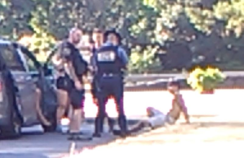 KOIN 6 NEWS PHOTO - A screen capture appears to show Oregon State Police troopers questioning the Eagle Creek Fire suspect.