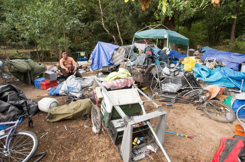 FILE PHOTO - A homeless camp along the Springwater Trail.