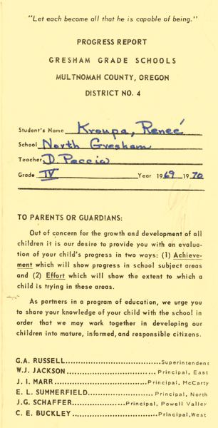 CONTRIBUTED - Little Renee Kroupa's report card from fourth grade at North Elementary School.