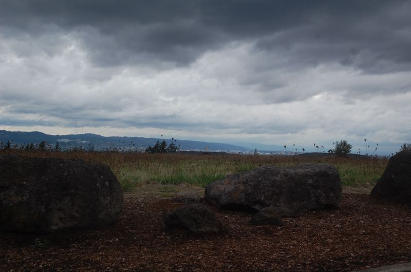 PHOTO BY: RAYMOND RENDLEMAN - Brooding clouds and stunning views greet visitors to the proposed site of Prestige Senior Living on the eve of its annexation request before Happy Valley voters.