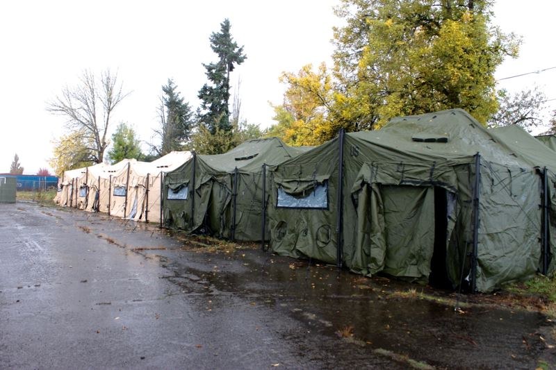 TRIBUNE PHOTO: LYNDSEY HEWITT - St. Vincent DePaul has military style tents for people to sleep in during winter.