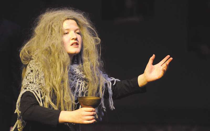SETH GORDON - Senior Cameron Shultz rehearses her part as Grandma Addams in Newberg High School's production of 'The Addams Family' Musical.The show opens with a 7 p.m. performance Thursday, as well as 1 p.m. and 7 p.m. performances Saturday.
