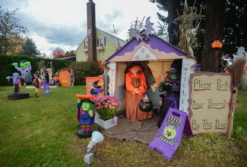 OUTLOOK PHOTO: JOSH KULLA - The Rick and Linda Paz Halloween display off Hensley Road in Troutdale.