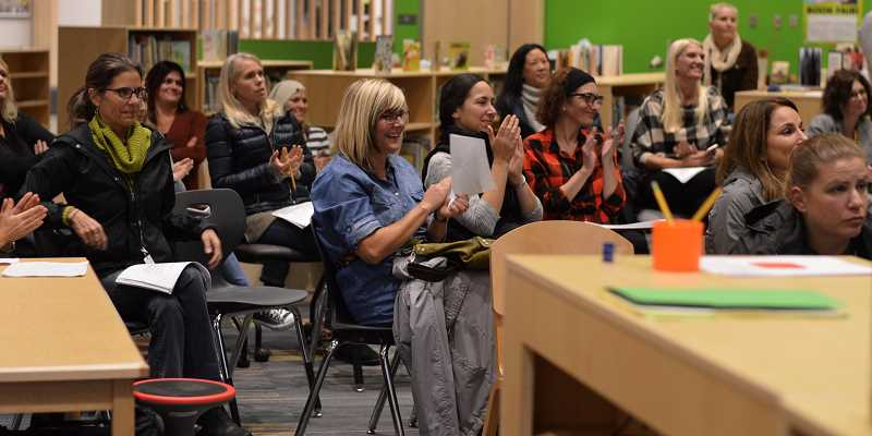 SPOKESMAN PHOTO: CLARA HOWELL - Community members gather at Sunset Primary to learn about dyslexia.