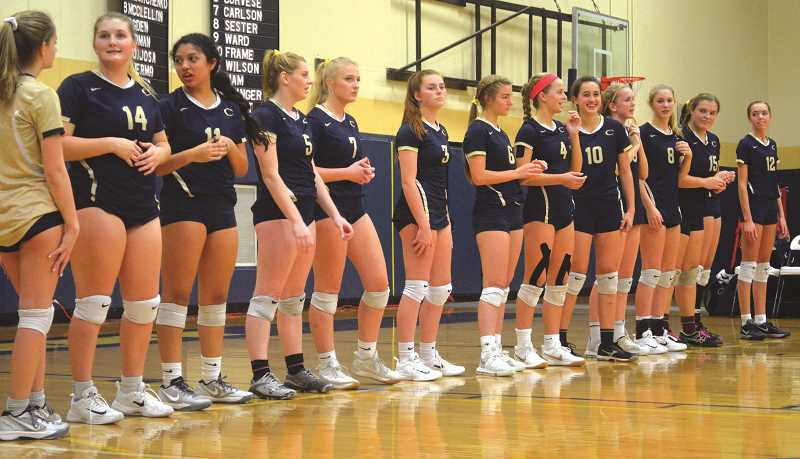 HERALD PHOTO: TANNER RUSS - The Canby Cougars before their playoff match against the visiting Barlow Bruins. The Cougars would lose 3-2 on Wednesday Oct. 25.