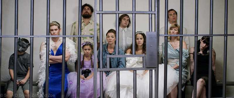 The whole bridal party ends up in jail in one of their lower moments in this scene from Zilla and Zoe.