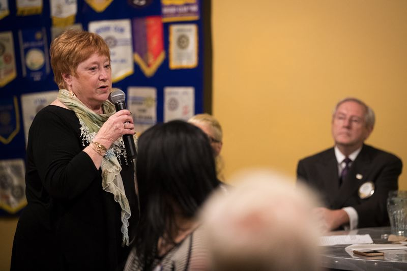TIMES PHOTO: JAIME VALDEZ - The Rotary Club of Tigard regularly invites speakers to address its weekly luncheons at Nicoli's Grill & Sports Bar. This Thursday, state Rep. Margaret Doherty, D-Tigard, spoke about the recent legislative session.