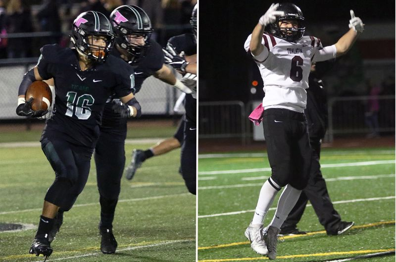 PAMPLIN MEDIA GROUP PHOTOS: DAN BROOD - Tigard's Max Lenzy (left) and Tualatin's Jackson Willig both hope to lead their teams to victory when they meet in their annual rivalry game at Tigard High School at 7 p.m. Friday.