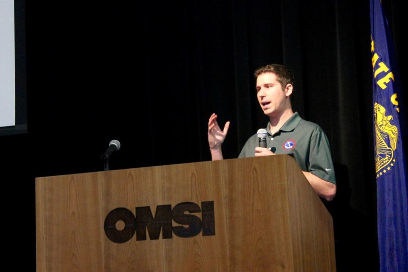 TRIBUNE PHOTO: LYNDSEY HEWITT - Evan Bentley, a meterologist at National Weather Service Portland, discussed the winter 'outlook' at the 25th annual Winter Weather Forecast Conference on Saturday.