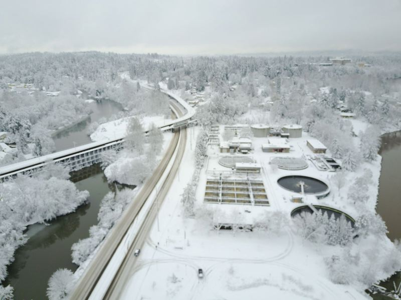 PAMPLIN MEDIA FILE PHOTO - An aerial shot of snow in the Portland region last January.