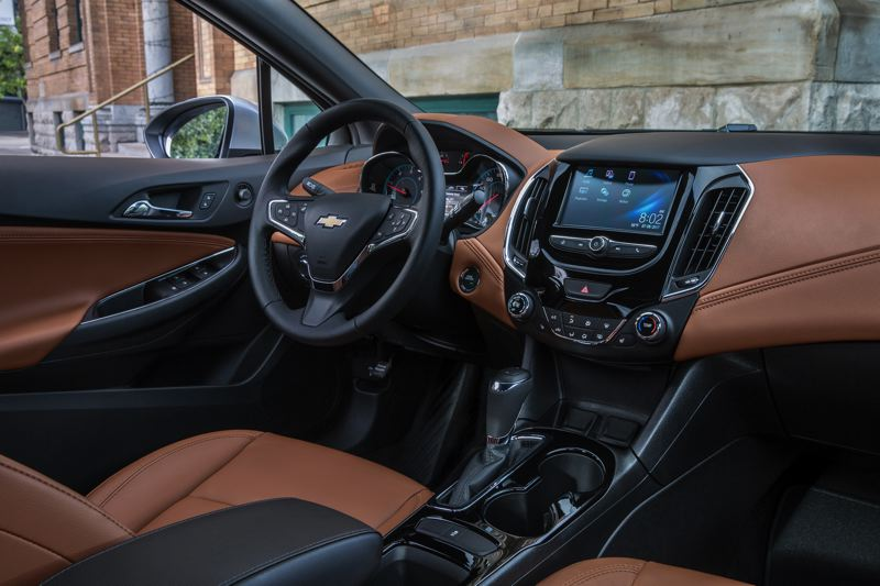 COURTESY CHEVY - The interior of the 2018 Chevy Cruze Diesel can be ordered with full leather trim and other luxury touches.