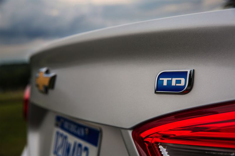 COURTESY CHEVY - The discrete turbodiesel badge on the trunk of the 2018 Chevy Cruze Diesel is the only outward sign of the fuel-efficient engine.