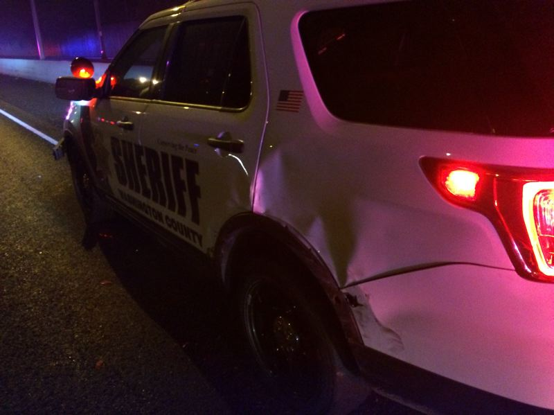 COURTESY WCSO - This Washington County Sheriff's Office patrol vehicle was damaged during an early Sunday morning collision on Hwy. 26.