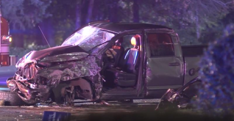 KOIN 6 NEWS - This is what is left of the truck that police say hit a TriMet van and a power pole in Gresham late Saturday.