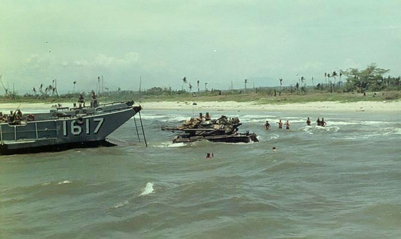 CONTRIBUTED PHOTO - Shaull keeps this photo of an amphibious landing bringing heavy equipment ashore in Vietnam.
