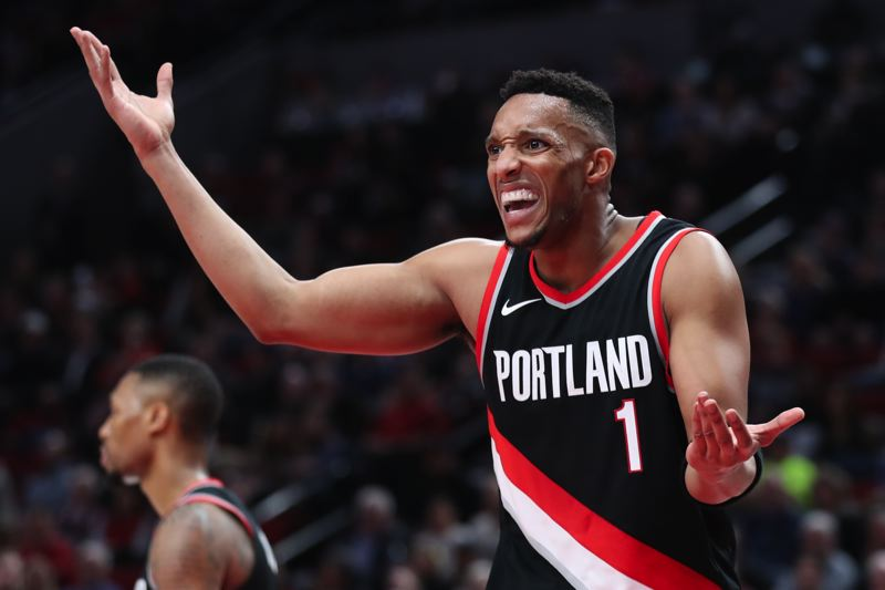 TRIBUNE PHOTO: JAIME VALDEZ - Evan Turner of the Trail Blazers wonders about a call.