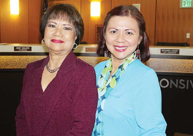HOLLY M. GILL - New Madras City Councilor Rose Canga, left, was sworn in Oct. 24. Her daughter, Candy Canga-Picar, serves on the Metolius City Council. Rose Canga retired after a 40-year nursing career in the Philippines, and her daughter, who has lived in the U.S. for the past 24 years, is currently the chief nursing officer at St. Charles Madras.
