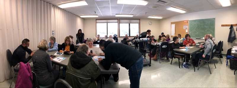 PHOTO COURTESY OF AT&T - A workshop was held at the Elsie Stuhr Center to guide seniors through technology.