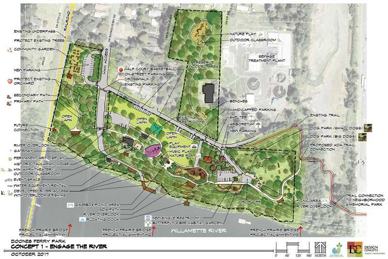 SUBMITTED  - Project consultants presented three themed design concept drafts: Engage the River (pictured), Historical Focus and Activated Park. Consultants said that no one design is the final design, but rather sets of options and suggested combinations.