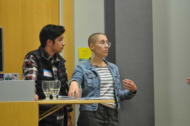 TIMES PHOTO: BLAIR STENVICK - PCC students Weston Figueroa and Rylie Wolff spoke at a forum on transgender student issues last Thursday at the Rock Creek campus.