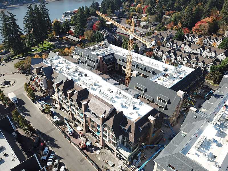 REVIEW PHOTO: ALVARO FONTAN - Oct. 27, 2017: The Windward's pedestrian walkway between First and Second streets is visible in the lower right-hand corner of a photo taken from above Lake View Village.