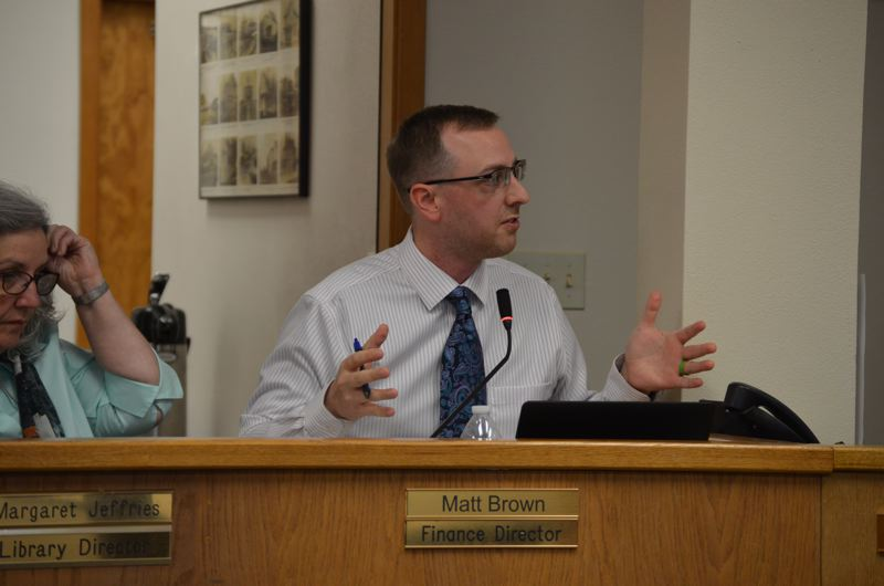 SPOTLIGHT PHOTO: NICOLE THILL - St. Helens Finance Director Matt Brown speaks with the St. Helens City Council on Wednesday, Nov. 1, about potential cost-saving measures and revenue-generating ideas to support city parks.