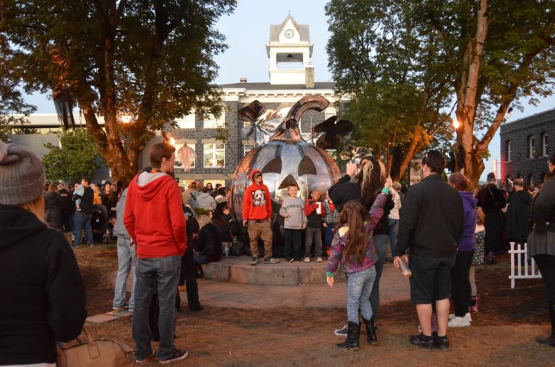 SPOTLIGHT FILE PHOTO: NICOLE THILL - Big-ticket items on the city's Spirit of Halloweentown budget include the purchase of new props, like this massive metalic pumpkin in the Columbia Courthouse Plaza.