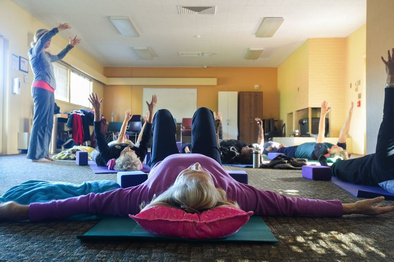 OUTLOOK PHOTO: JOSH KULLA - The Legacy yoga class meets on Tuesdays and is free.