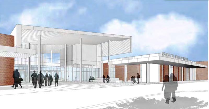 RENDERING BY DOWA-IBI GROUP - This is the dramatic new entrance to Reynolds High School designed by DOWA-IBI architects.