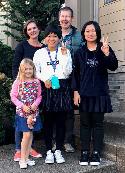 CONTRIBUTED PHOTO - From left: Odessa Akervall, Kristin Akervall, Chinatsu Kobayashi, Anton Akervall and Miyu Kobayashi particpate in Wilsonville's sister city exchange.