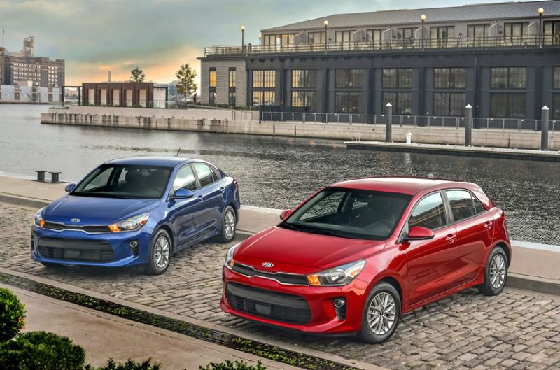 KIA AMERICA MOTORS - The completely redesigned 2018 Kia Rio is available as a sedan( left) or five-door hatchback. Both are stylish, well built, and have quiet, comfortable rides.