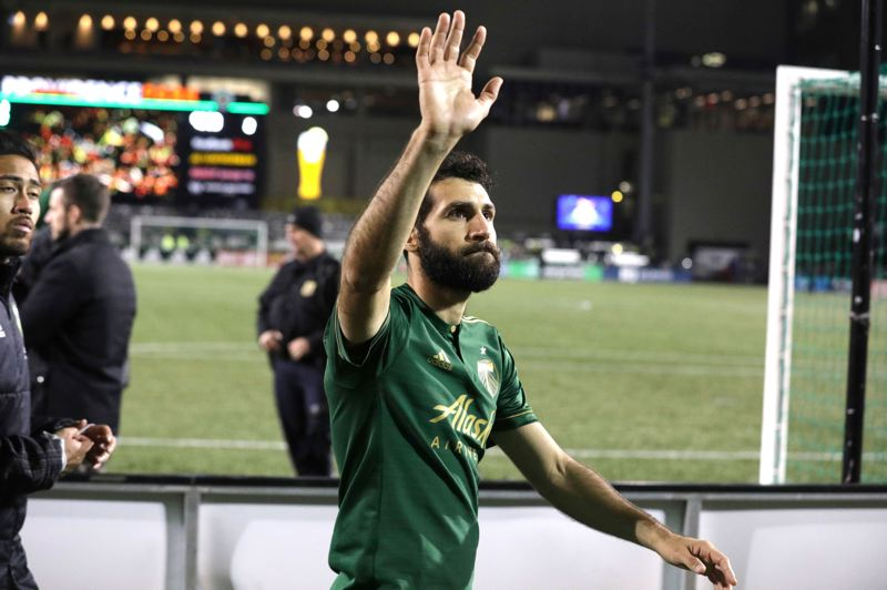TRIBUNE PHOTO: JONATHAN HOUSE - Diego Valeri of the Porland Timbers waves to fans at Providence Park after the club's season-ending 2-1 loss Sunday to the Houston Dynamo.