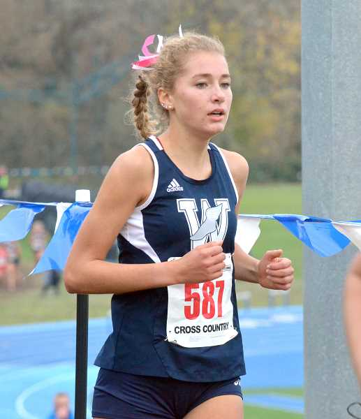 SPOKESMAN PHOTO: TANNER RUSS - Sophomore Samantha Prusse took 15th place in the state meet at Lane Community College on Nov. 4.